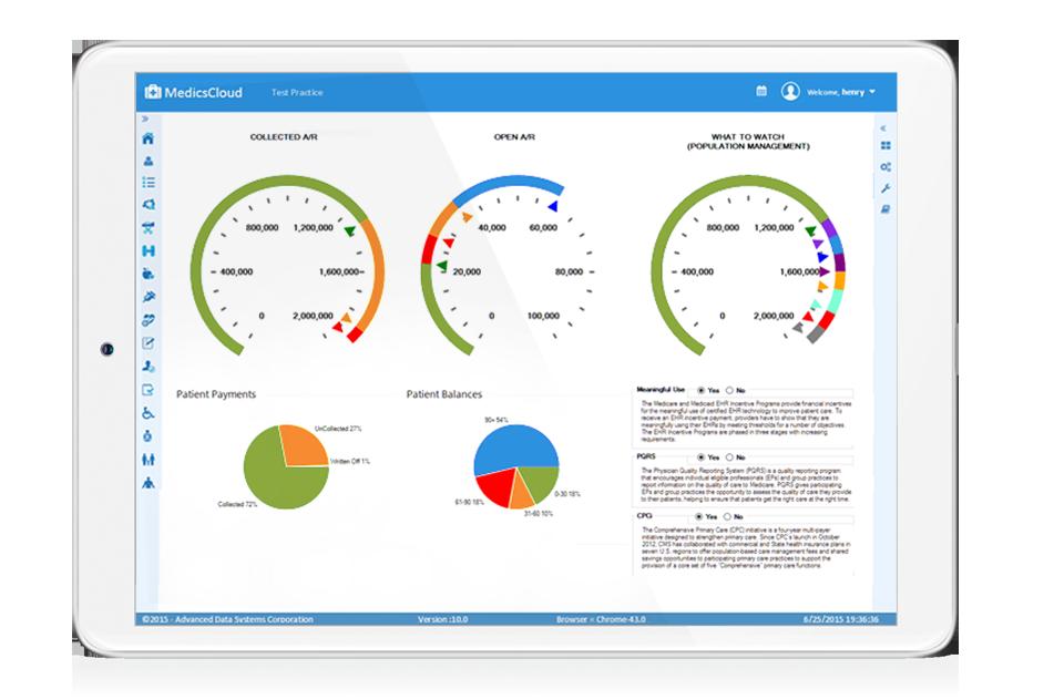 MedicsCloud-EHR-MACRA-Dashboard-screen